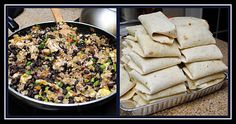 Breakfast Burritos (40 mini burritos to keep frozen for mornings!)  Tortillas  2 dozen eggs  60oz black beans, rinsed  1 bundle green onions, chopped  Salsa  Cheddar cheese    Scramble eggs with milk/water & cook. Add the black beans & green onions towards the end of cooking. Assemble in the tortillas with cheese & salsa. Wrap each burrito individually in foil or wax paper.  Reheating - remove from foil/wax paper, wrap in a paper towel. Heat for 2m on defrost, then 1m30s on high.