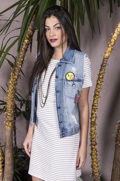 #debrummodas #verão #coleção #vestido #listras #stripes #colete #jeans #patches #modafeminina #moda #style #estilo #fashion