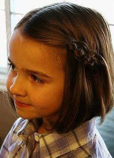Easy hairstyle with braids and short hair for girls , Peinado con trenzas  para niñas de