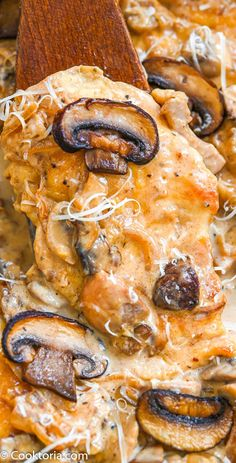 This Creamy Mushroom Chicken is made with tender chicken breasts Parmesan cheese onions cream wine and of course m. Creamy Mushroom Chicken, Creamy Mushrooms, Chicken Mushrooms, Stuffed Mushrooms, Wine Recipes, Whole Food Recipes, Cooking Recipes, Meal Recipes, Turkey Recipes