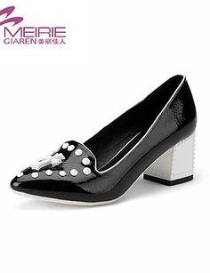 X&D Damenschuhe - High Heels - Büro / Lässig - Lackleder - Blockabsatz - Absätze / Spitzschuh / Geschlossene Zehe - Schwarz - http://on-line-kaufen.de/tba/x-d-damenschuhe-high-heels-buero-laessig-absaetze-8