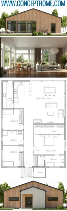 Home Plans, House Plans, Floor Plans grundriss House Architecture Dream House Plans, Modern House Plans, Small House Plans, House Floor Plans, Casas The Sims 4, Casas Containers, Home Design Plans, Architecture Plan, House Layouts