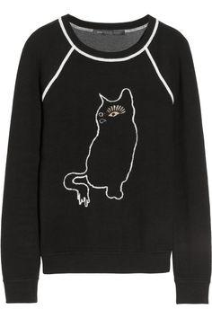 Marc by Marc Jacobs|Rue cat-intarsia cotton-blend sweatshirt|NET-A-PORTER.COM