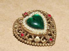 Vtg Coro Gold Tone Green Art Glass Open Work Rhinestone Heart Pin Brooch