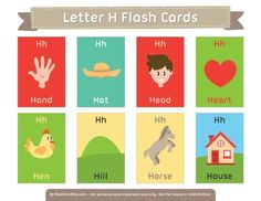 Free printable letter H flash cards. Download them in PDF format at http://flashcardfox.com/download/letter-h-flash-cards/