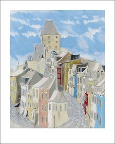 Off-set print by Ben Carter, 'Cobbled Street', 40x50cm, €230 incl. delivery, www.bencarter.eu #art #philharmonie #landscape #painting #street #cobbles