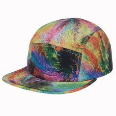 For Men Women 5 Panel Hip Hop Hat Rainbow Tie Dye Paint Baseball Cap New Goldtop #Goldtop #Bucket