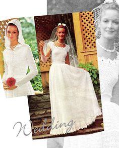 Vintage CROCHET Wedding Dress & Jacket PDF Pattern - Wedding