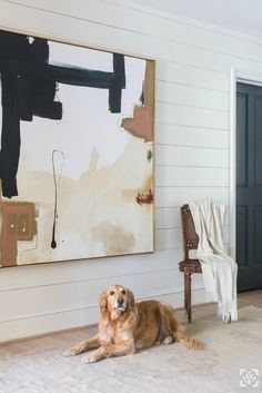 Shiplap panels in the entryway are so cool an casual with an edge Design by Dana Wolter Interiors art abstracto Project Expansion - Dana Wolter Interiors Art Sur Toile, Beige Art, Neutral Art, Neutral Colors, Abstract Canvas Art, Modern Abstract Art, Abstract Paintings, Modern Paintings, Modern Canvas Art