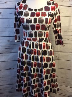 REBORN Owl Print Dress Waistband 3/4 Sleeve 2 Pockets Fit n Flare Sz S | Clothing, Shoes & Accessories, Women's Clothing, Dresses | eBay!
