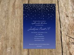Night Under the Stars Sweet Sixteen by RSVPinvitationsbyme on Etsy
