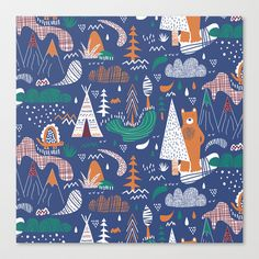 Bear camp Stretched Canvas by Demi Goutte - $85.00