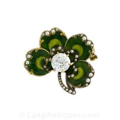 Victorian Enameled Diamond Watch Pin