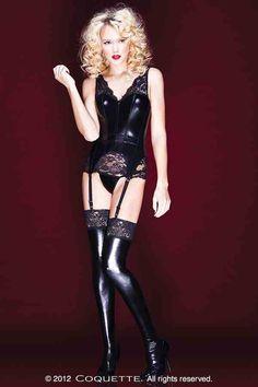 D9253 pvc corset fetish coquette  - beautiful lace and pvc mmmm x