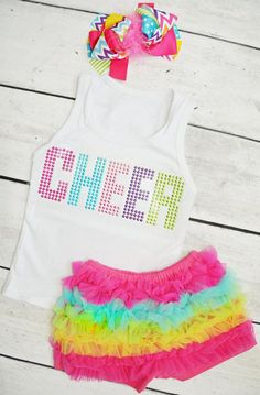 Cute Girl's Cheer Ruffle Shorts Top Set.  Also comes in Dance or SPARKLE!  So cute for a comfortable little summer outfit for your baby, toddler or little girl!    $22.00
