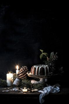Food — Carole Poirot - Christmas Bundt Cake with White Chocolate Ganache. Christmas Food Photography, Dark Food Photography, Cake Photography, Cooking Photography, Creative Photography, Dark Christmas, Christmas Mood, Merry Christmas, Magical Christmas