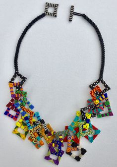 Nita E Kaufman - Squares abound, beaded necklace, geometric necklace Jewelry Crafts, Jewelry Art, Handmade Jewelry, Jewelry Design, Fashion Jewelry, Jewellery, Fashion Fashion, Beaded Jewelry Patterns, Fabric Jewelry