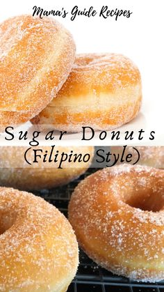 Who doesn't love a fresh and warm sugar donuts? Start frying some sugar doughnuts today. These yeast-raised doughnuts are soft, fluffy and so easy to do. You can sprinkle sugar, fill it with whipped cream, jam or even fill it with nutella. Easy Donut Recipe, Donut Recipes, Baking Recipes, Sugar Doughnut Recipe, Fresh Donut Recipe, Chinese Sugar Donuts Recipe, Homemade Donuts Recipe From Scratch, Binangkal Recipe, Desert Recipes