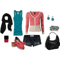 Red and Turquoise with Black love those toms. Would replace shorts with jeans.
