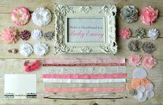 Headband Party Kit-  Create 10 Pink, Gray, and White DIY Headband, Baby Shower Headband Kit, Birthday Party Headband Kit.