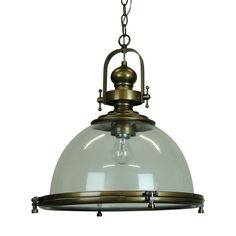 GAIA Industrial Clear Antique Brass - Industrial Pendant Lighting
