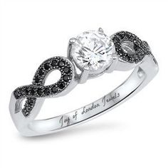 This Perfect Russian Lab Diamond Ring with Black Diamond side accents in a shape of infinity. Russian lab diamonds are grown by a proprietary process that recreates the miracle of nature. Like mined diamonds, our grown diamonds are faceted a. Round Diamond Engagement Rings, Lab Diamonds, Black Diamond, Black Onyx, Black Tie, Sterling Silver Rings, Silver Jewelry, Infinity, Craft Jewelry