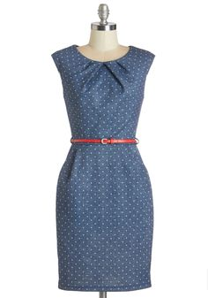 Teaching Classy Dress. When students signed up for your bio class, they werent aware theyd get a lesson in chic style as well, but this chambray-like sheath offers up extra credit. #blue #modcloth