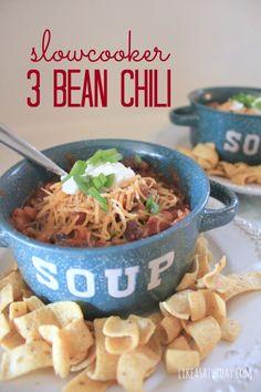 slow cooker three bean chili recipe
