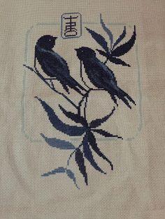 La custode dei segreti: Punto croce uccellini blu completo