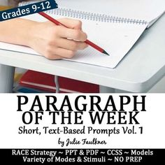Weekly Short Writing Prompts with Stimuli, Paragraph of the Week, Full Semester, Authentic Text-Based for High School High School Writing, Teaching Writing, Writing Practice, Teaching English, Teaching Resources, Middle School, Teaching Ideas, Teaching Tools, 10th Grade English