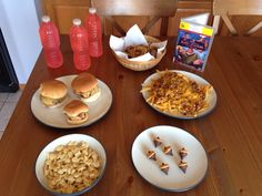 The Emperor's New Groove Dinner - Kronk's Menu - Three Oinkers Wearing Pants (bacon cheeseburgers), Plate of Hot Air (chili cheese fries), Basket of Grandma's Breakfast (onion rings), Change the Bull to a Gill (goldfish crackers), Kuzco's Poison and Bucky's Acorns (mini nilla wafers, Hershey kisses and mini chocolate chips, held together with peanut butter) - The Emperor's New Groove Movie Night - Disney Movie Night - Family Movie Night