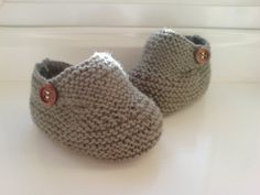 Hand Knitted Baby Booties - Chocolate - 6-9 months