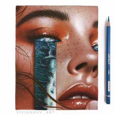 Colored Pencil Artwork, Color Pencil Art, Pencil Art Drawings, Cool Art Drawings, Realistic Drawings, Colorful Drawings, Art Drawings Sketches, Prismacolor Art, Ocean Drawing