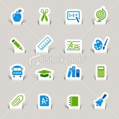 Paper cut - School Icons Royalty Free Stock Vector Art Illustration
