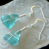 By the Bay Treasures, Genuine Beach Sea Glass Earrings Wire Wrapped Jewelry, Wire Jewelry, Jewelry Crafts, Jewelry Art, Beaded Jewelry, Handmade Jewelry, Jewelry Design, Jewlery, Personalized Jewelry