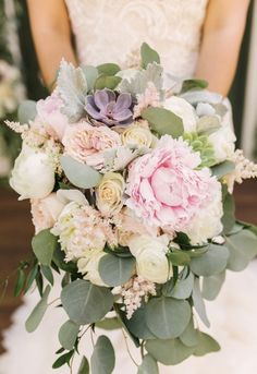 Peony and succulent bouquet with blush, light pink, lavender and eucalyptus, dusty miller, astilbe. Wedding at The Villa, SJC. Florals by Jenny// Crystal Nicole Photography// Joy n Company