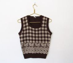 #Vintage 1970s Brown & Creme Checkered / Floral Knit Sweater Vest / Sleeveless Pullover by VelouriaVintage on Etsy