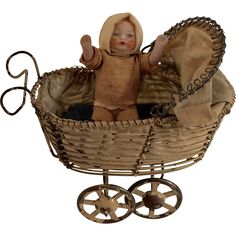Antique Wire Miniature Dollhouse Carriage,Pram Buggy with Baby from…