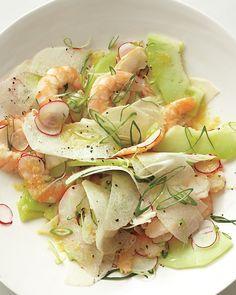 Poached Shrimp with Honeydew, Radishes, Jicama, and Scallions, Wholeliving.com