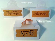 segnaposto, menù greco, il Partenone #segnaposto #partenone #grecia #idee #paper