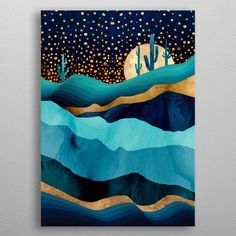 Indigo Desert Night Poster made out of metal. High-quality metal wall art meticulously designed by spacefrogdesigns would bring extraordinary style to your room. Canvas Painting Landscape, Acrylic Painting Canvas, Canvas Art, Canvas Prints, Art Prints, Southwest Art, Cool Artwork, Painting Inspiration, Modern Art