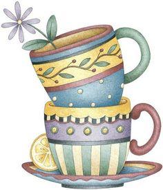 Riscos e desenhos de bules e xícaras