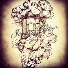 Wonderful bird&cage&flowers tattoo by @milky_tattoodles on instagram