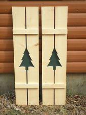 new treerustic pine shutters log cabin exterior window custom handmade tree wood Window Shutters Exterior, Rustic Shutters, Diy Shutters, Farmhouse Shutters, Green Shutters, Primitive Shutters, Cottage Shutters, Indoor Shutters, Exterior Paint