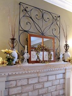 Wintery/Fall Mantel - Love the layers on this one!