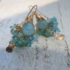 Aquamarine and Apatite Goddess Earrings - Earrings