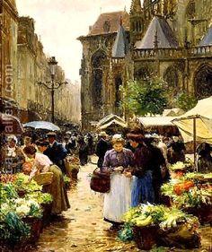 Victor-Gabriel Gilbert:Market in Dieppe