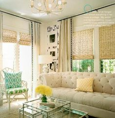 Shades and floor to ceiling curtains - love!