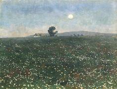 František Kaván (Czech, 1866-1941), Na louce při měsíčku [A meadow in the moonlight], 1895. Oil on cardboard on canvas, 32 x 43 cm.