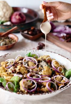 Roasted Cauliflower Salad with Lentils, Dates, and Tahini Dressing I foolproofliving.com